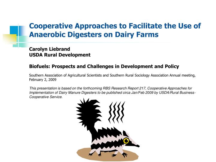 cooperative approaches to facilitate the use of anaerobic digesters on dairy farms n.