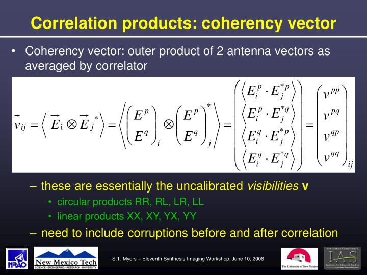 Correlation products: coherency vector