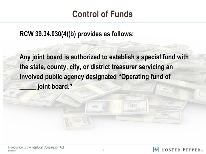 Control of Funds