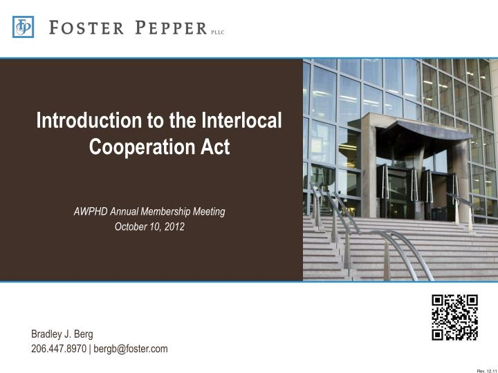 Introduction to the interlocal cooperation act