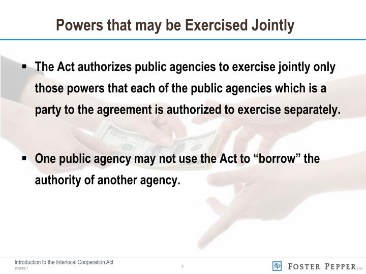 Powers that may be Exercised Jointly