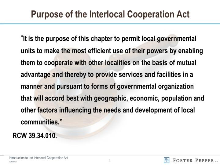 Purpose of the interlocal cooperation act
