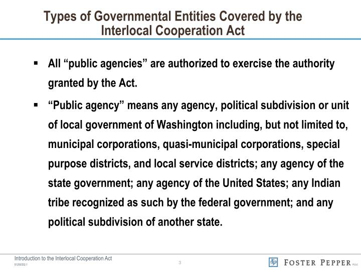 Types of governmental entities covered by the interlocal cooperation act