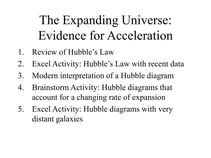 the expanding universe evidence for acceleration n.