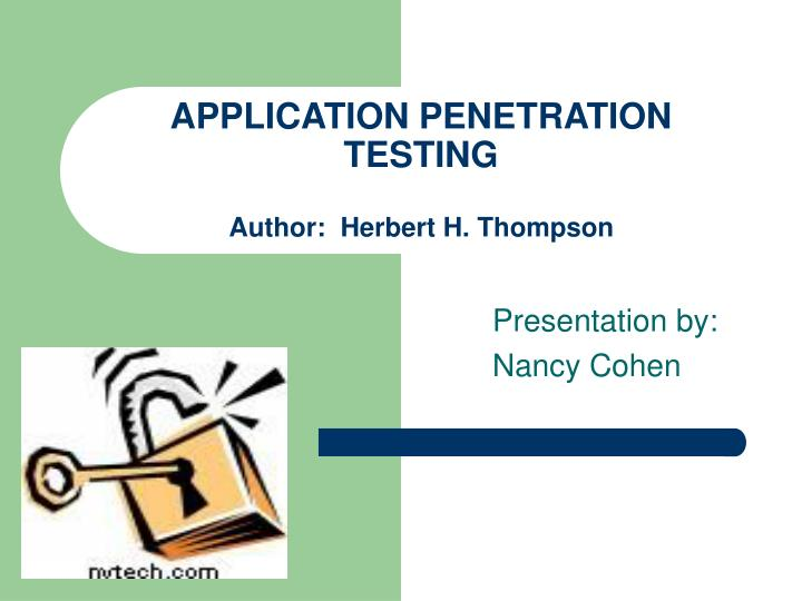 application penetration testing author herbert h thompson n.