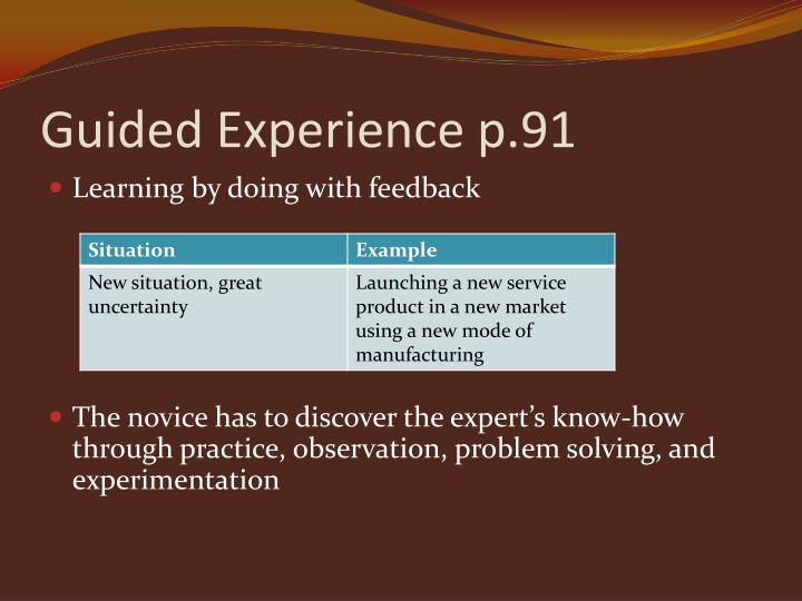 Guided Experience p.91