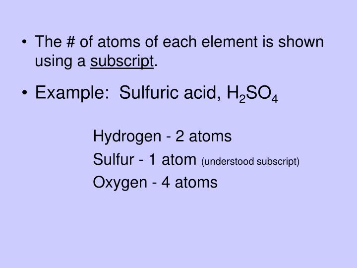The # of atoms of each element is shown using a