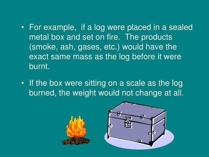 For example,  if a log were placed in a sealed metal box and set on fire.  The products (smoke, ash, gases, etc.) would have the exact same mass as the log before it were burnt.