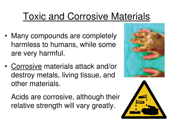 Toxic and Corrosive Materials