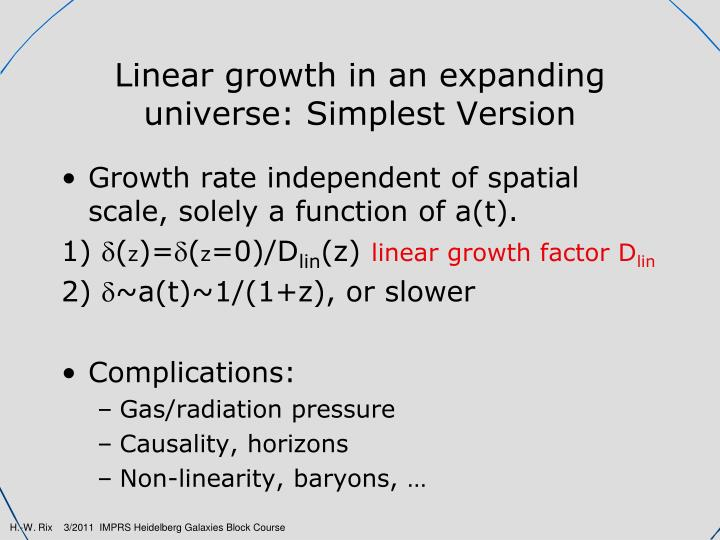 Linear growth in an expanding universe: Simplest Version