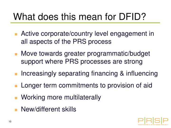 What does this mean for DFID?