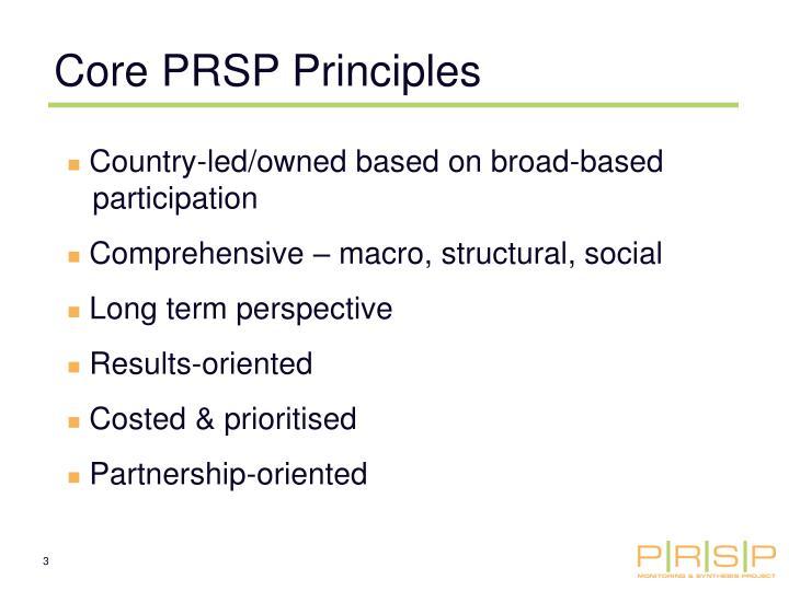 Core PRSP Principles