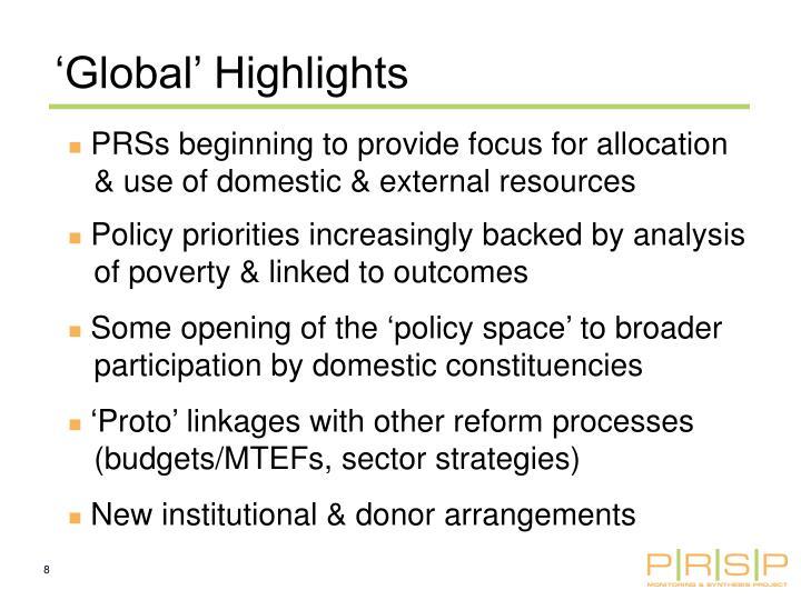 'Global' Highlights