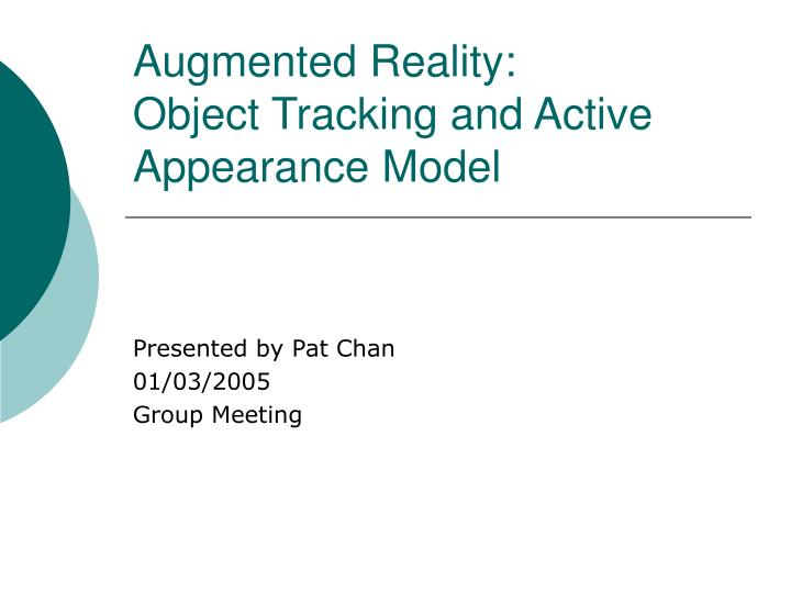 augmented reality object tracking and active appearance model n.