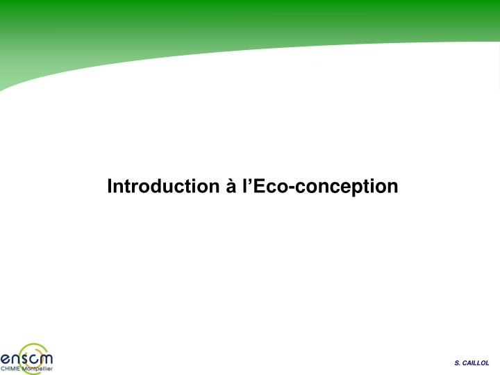 introduction l eco conception n.