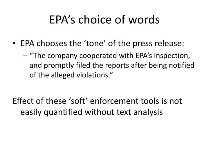 Epa s choice of words