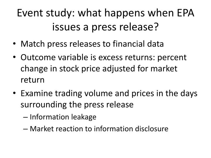 Event study: what happens when EPA issues a press release?