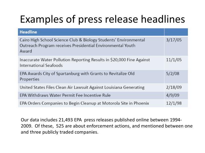Examples of press release headlines
