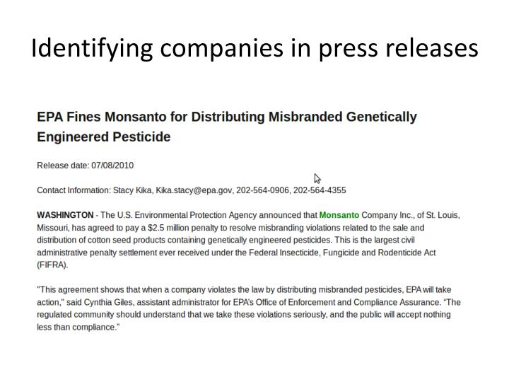 Identifying companies in press releases