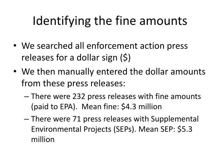 Identifying the fine amounts