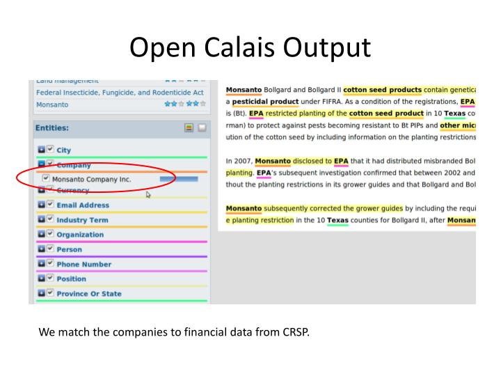 Open Calais Output