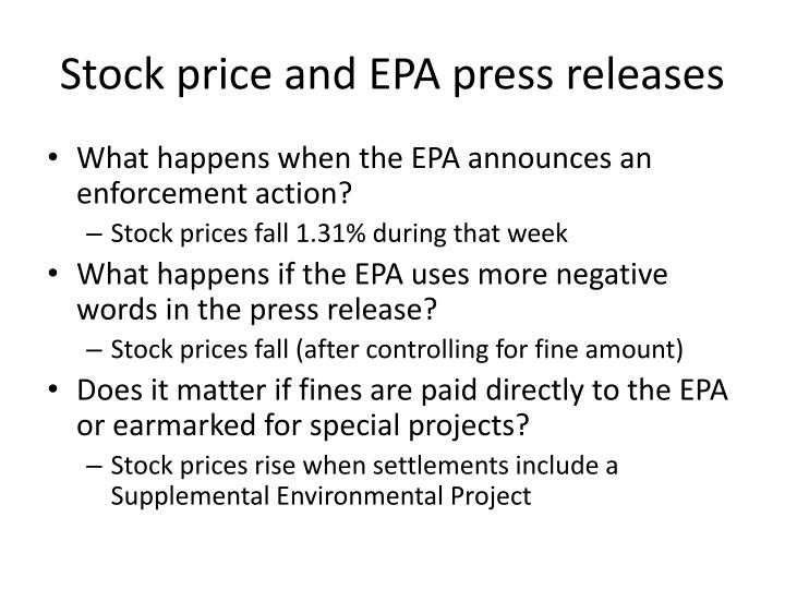 Stock price and EPA press releases