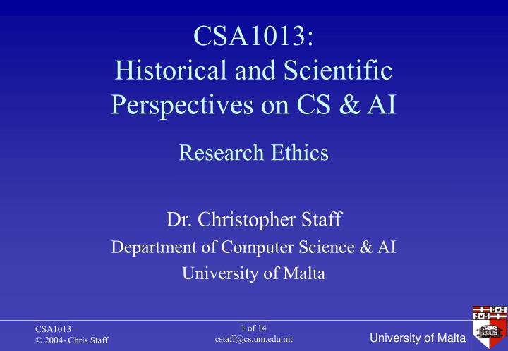 csa1013 historical and scientific perspectives on cs ai n.