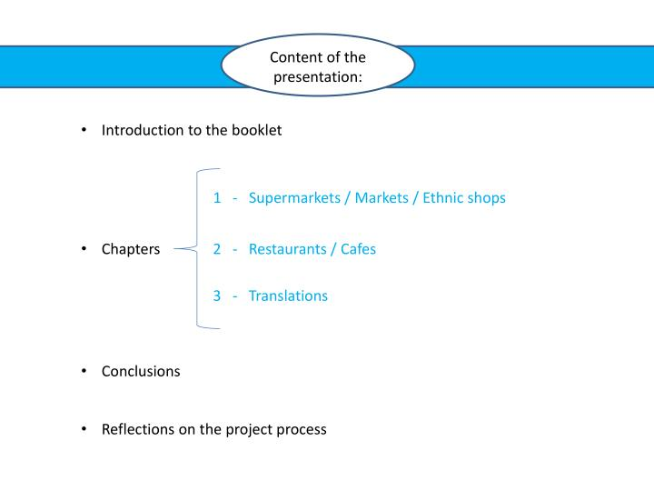Content of the presentation: