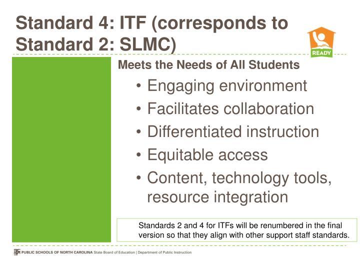 Standard 4: ITF (corresponds to Standard 2: SLMC)