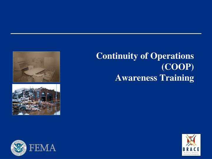 continuity of operations coop awareness training n.