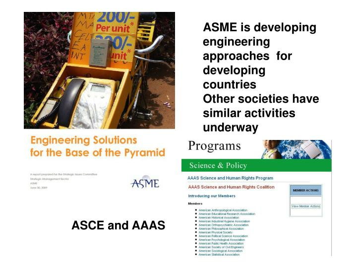 ASME is developing engineering approaches  for developing countries