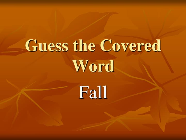 guess the covered word n.