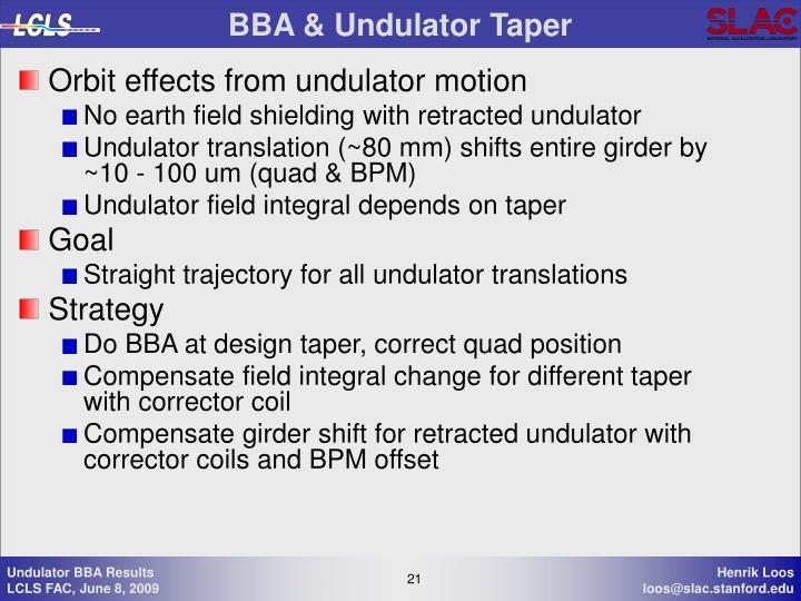 BBA & Undulator Taper
