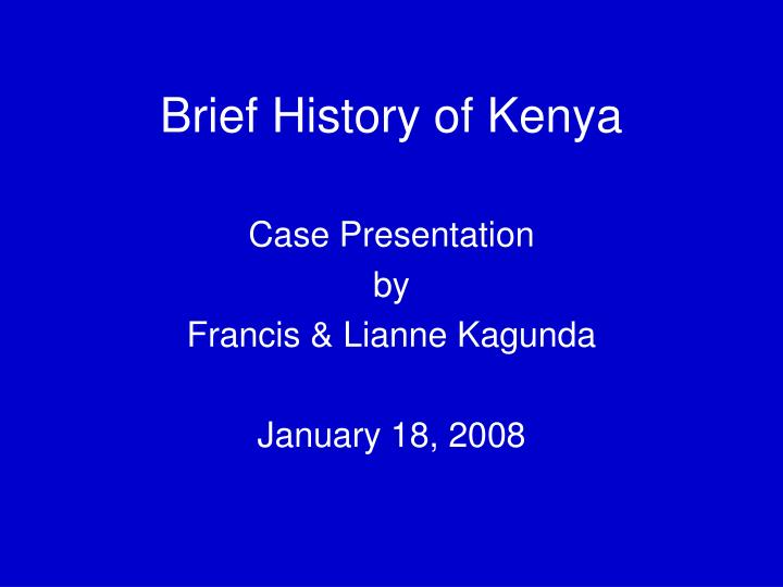 brief history of kenya n.