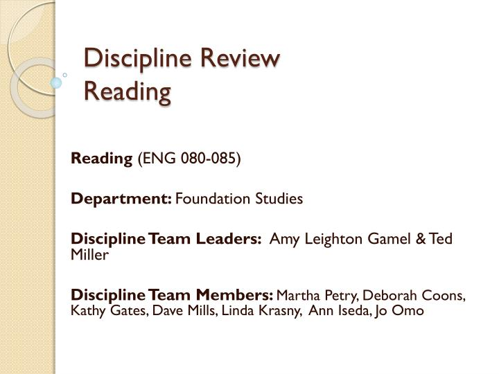 discipline review reading n.