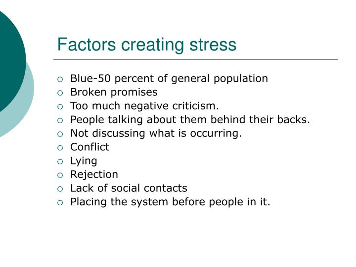 factors creating stress n.