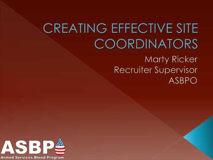creating effective site coordinators n.