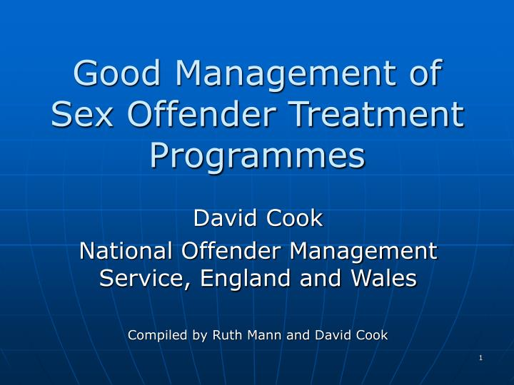 good management of sex offender treatment programmes n.