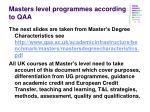masters level programmes according to qaa