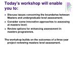 today s workshop will enable you to