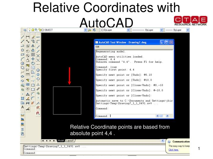 relative coordinates with autocad n.