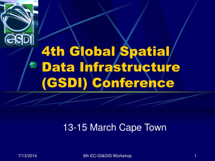 4th global spatial data infrastructure gsdi conference n.