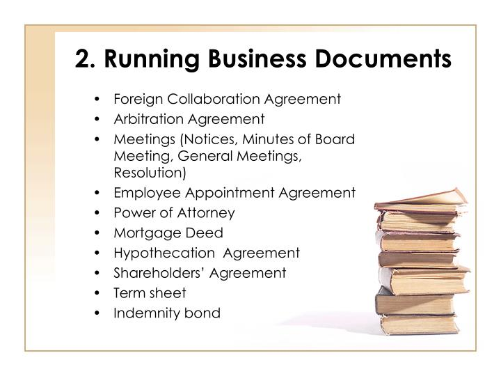 2. Running Business Documents
