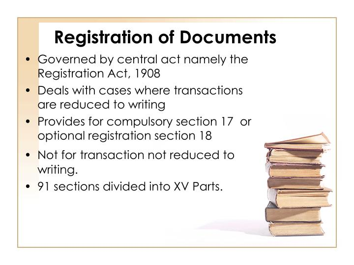 Registration of Documents