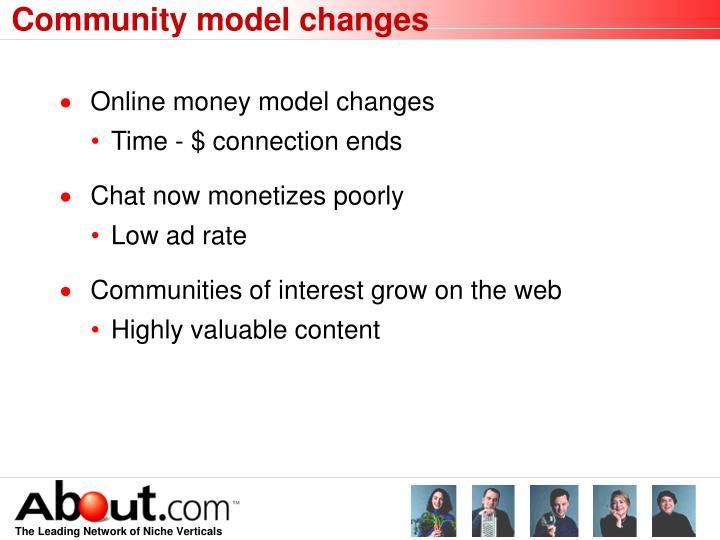 Community model changes