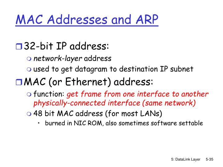 MAC Addresses and ARP