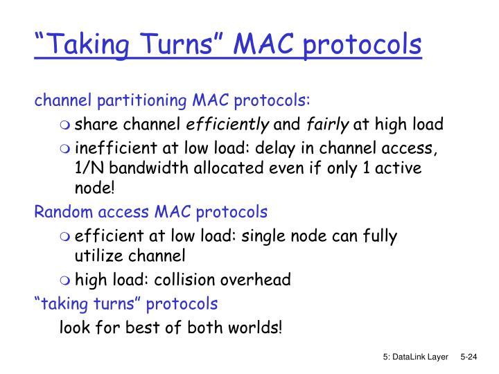 """Taking Turns"" MAC protocols"