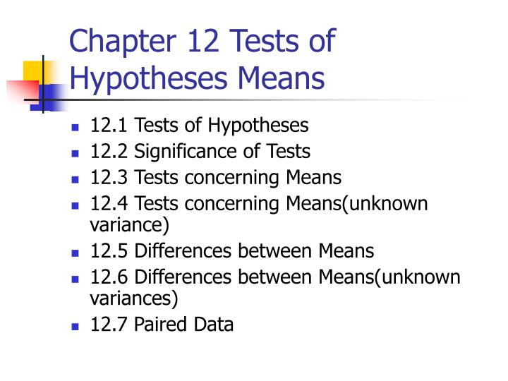 chapter 12 tests of hypotheses means n.