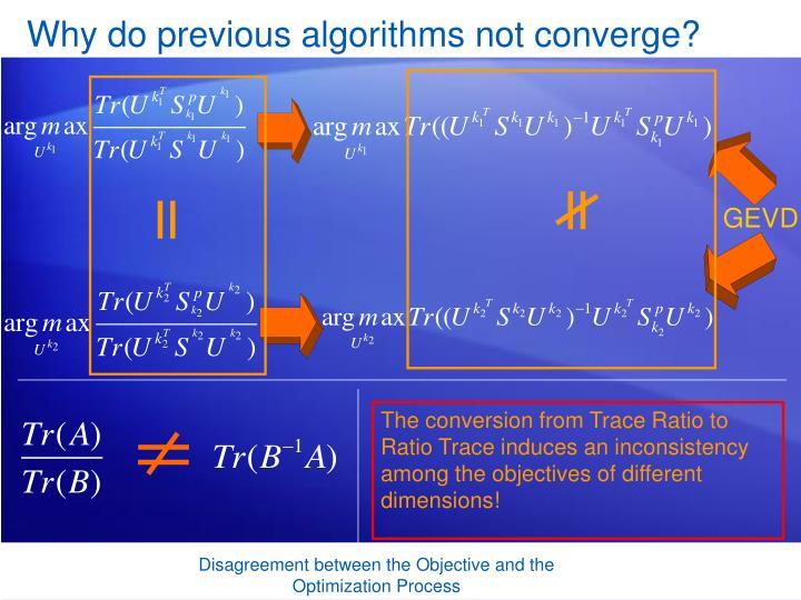 Why do previous algorithms not converge