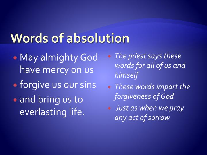 Words of absolution
